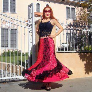 Ameynra Patchwork Skirt Red-Black Sz M